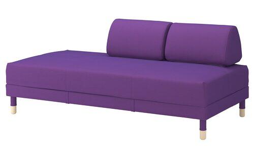 Klä upp soffan i färg och leggings! Klädsel Vissle till bäddsoffa Flottebo, Ikea.