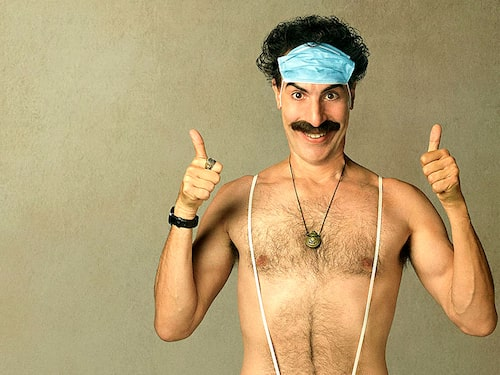 Sacha Baron Cohen i paradrollen som Borat.