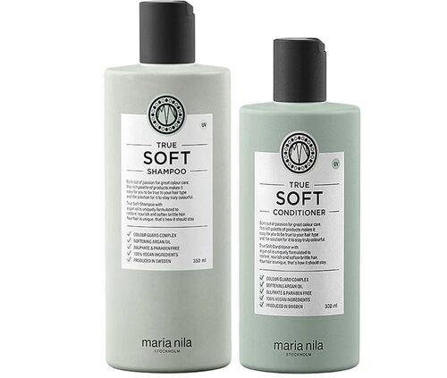Omdöme på True soft shampoo och true soft conditioner, 350 ml resp. 300 ml, Maria Nila.