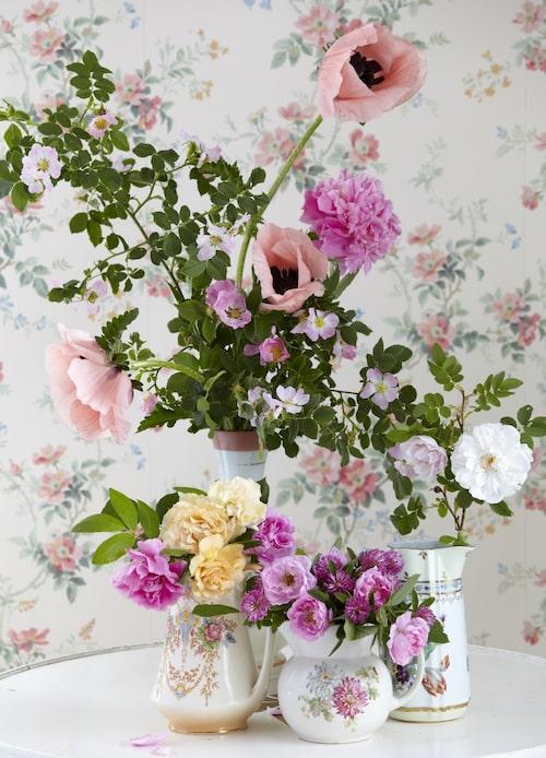 1. Romantisk sommarbukett med rosor