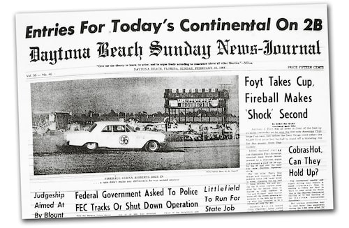 """Glenn Fireball Roberts """"makes shock second"""". Andraplatsen på Daytona bland racersportvagnar var inget annat än just en chock. Eller en skräll."""