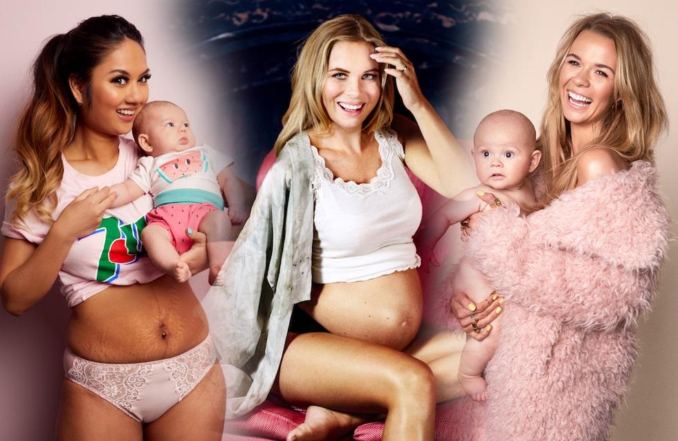 Influencer-mammor: Foki Soirak med dotterns Zelda, Victoria Törnegren är gravid och Margaux Dietz med sonen Arnold.