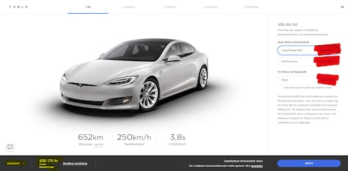 """När du tittar efter priserna på Teslas hemsida är det inte de rödmarkerade uppgifterna du ska kika på, utan de gulmarkerade siffrorna nedan till vänster som inkluderar avgifter. Detta pris når du om du ändrar till """"Kontant"""". """"Finansiell leasing"""" är förvalt när du besöker sidan."""