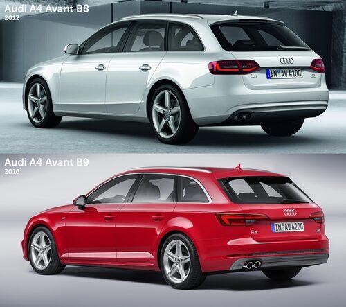 Audi A4 Avant B8 vs B9 (2012 vs 2016). Klicka för större.