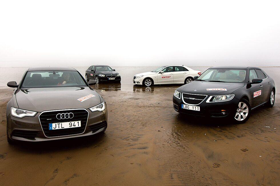 Audi A6, BMW 5-serie, Mercedes E-klass och Saab 9-5.