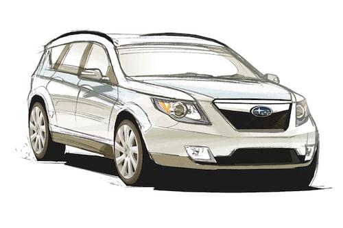 Designskiss över nya Subaru Forester.