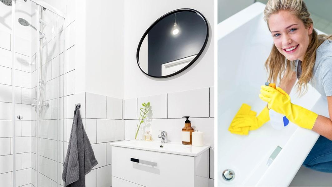 hur städar man badrummet