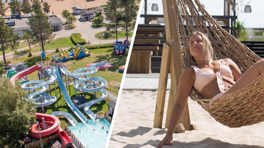 Blev utlandsresan avbokad? På Byske havsbad (t v) kan du ägna dig åt både lek och lata dagar. Och Böda camping (t h) bjuder på exotiska vibbar.