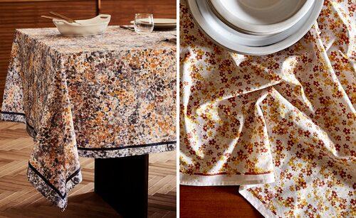 Bordsdukar med blommönster i akvarelleffekt.