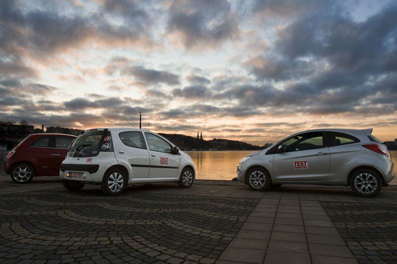 Fiat 500, Citroën C1 och Ford Ka.