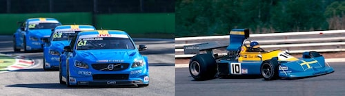 Andra tävlingsvagnar med svenska flaggan som motiv: Cyan Racings bilar och Ronnie Peterson March 761 i Formel 1 1976.
