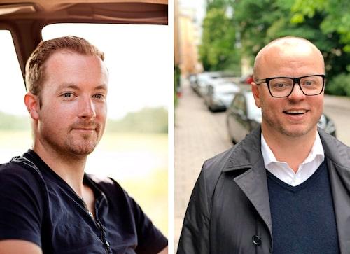 """Tony Nylander (till vänster) från Lagan lever som han lär. Gillar att skruva och ser chassipotentialen hos Alfa 75. Andreas Nilsson (till höger) från Stockholm har upptäckt Alfa Romeo på senare tid. """"- Man får massa bilpassion och körglädje för pengarna."""""""