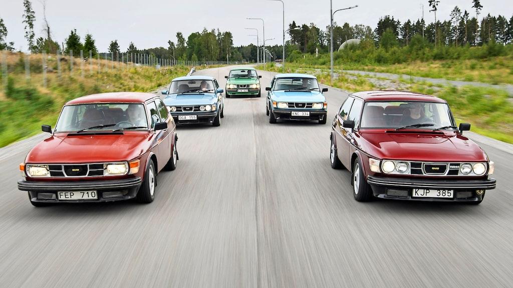 När såg du fem Saab 99 Turbo på en och samma bild senast. Dessutom alla årsmodeller som såldes i Sverige. Historiskt!