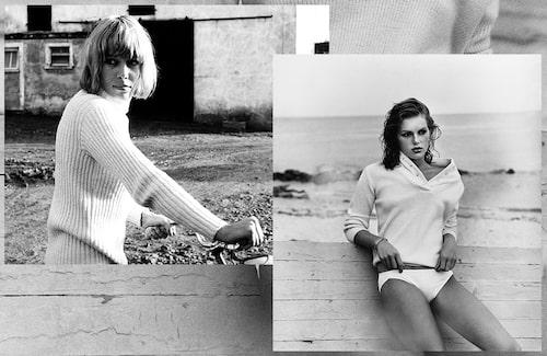 Skådisen, modellen och designern Anita Pallenberg (var till sammans med Keith Richards under sent 70-tal) i värmande stickat på cykelturen. En ung Patti Hansen (gift med Rolling Stones-gitarristen Keith Richards sedan 1983) i skönt stickat på stranden.