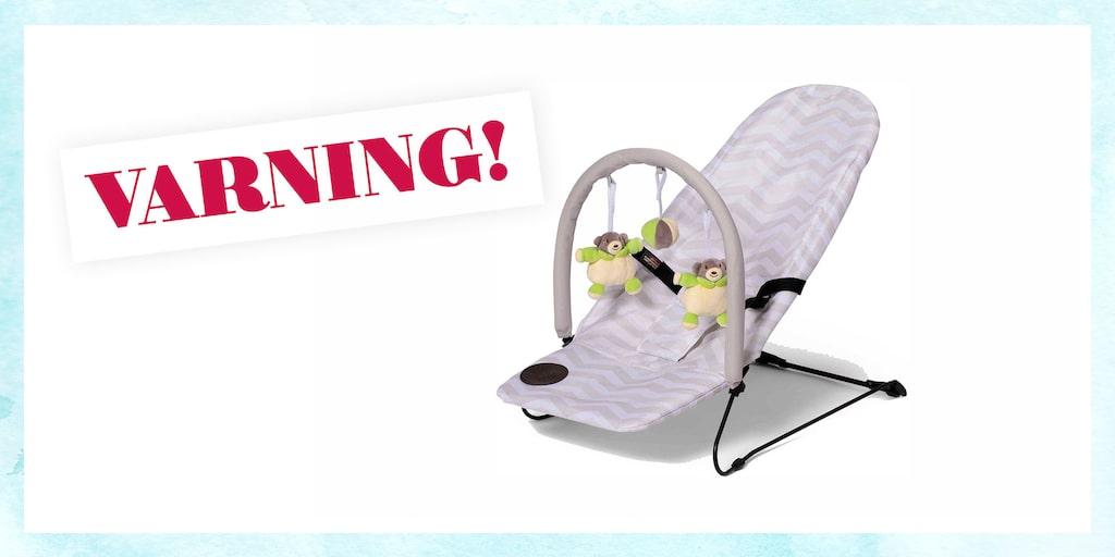 Ramen på babysittern från Jollyroom kan gå av vilket kan leda till att barnet faller bakåt och slår i huvudet.