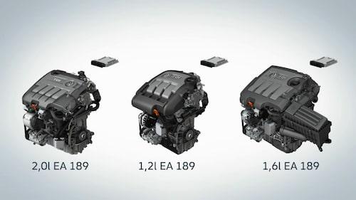 Ovanstående dieselmotorer är de som är drabbade av utsläppsfusket som nu ska åtgärdas. Samtliga motorer får ny mjukvara och 1,6-litersmotorn får dessutom en flödesriktare monterad.