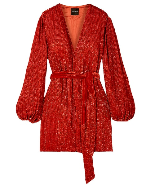 Röd festklänning till julfirandet 2019.