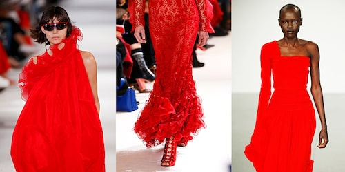 Röda klänningar på catwalken. Från vänster: Stella McCartney, Giambattista Valli och Antonio Berardi.