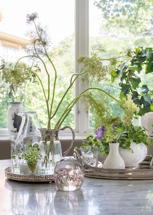 Vackra stilleben av dill, blommor, nytt och loppisfynd på silverbrickor.