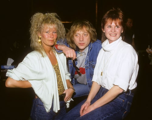 Efva Attling med Pugh Rogefeldt och Karin Glenmark 1982.