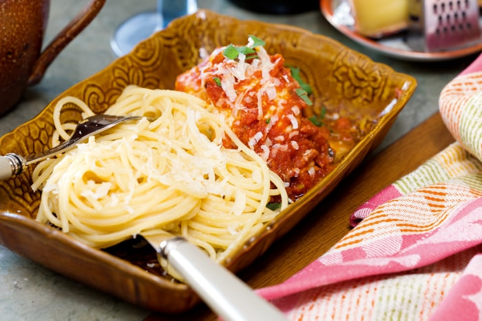 Italienska kycklingrullar med pasta.