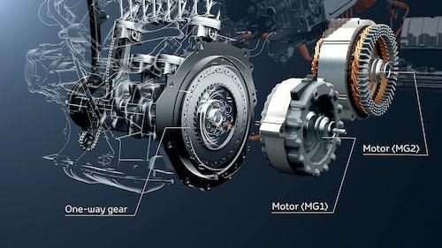 Envägskoppling på drivaxeln kopplad via generator plus elmotor ger effektivt system.