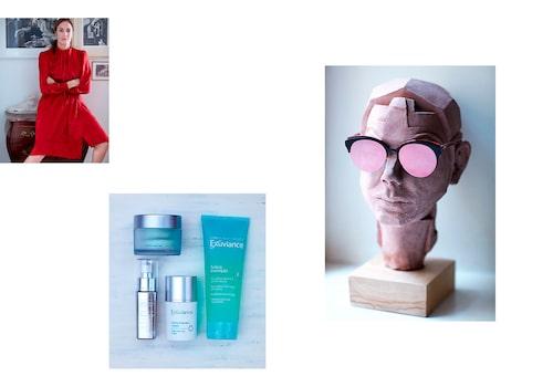 """""""Sidenklänning från Yves Saint Laurent från 70-talet. Min hudvårdsrutin. Solglasögon från Dior. Keramikskulpturen gjorde jag i mitten av 90-talet."""""""