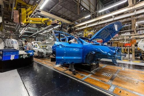 Produktion i Storbritanniens största bilfabrik – Nissans anläggning i Sunderland.