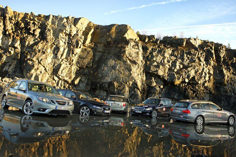 Saab 9-3, Audi A4, Subaru Legacy, Mercedes C-klass och BMW 3-serie.
