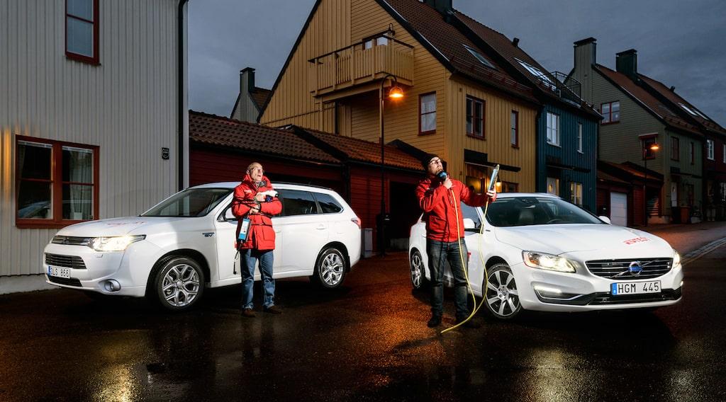 Mitsubishi Outlander PHEV och Volvo V60 Plug-in Hybrid
