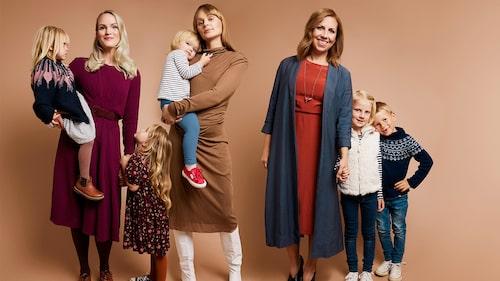 Emma Johanna och Maria med barn.