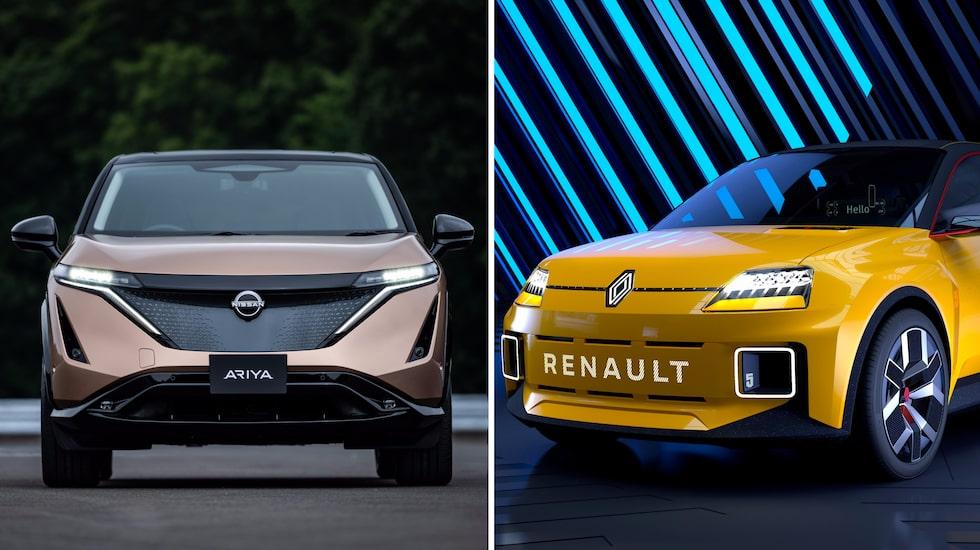 Nissan Ariya – till vänster – ska dela plattformen med nya elbilar från Renault. Nya Renault 5, till höger, blir Renaults nya billiga elbil.