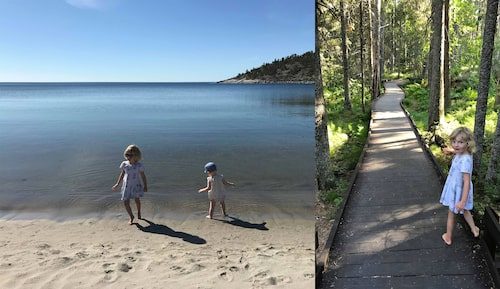 Missa inte långgrunda Smitingen havsbad när ni besöker Höga kusten. Till höger är Betty på jakt efter troll på geologistigen.