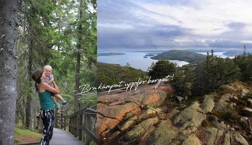 Tvåbarnsmamman Emma Treffenberg har sommarhus på Hemsön, men här bestiger hon Skuleberget tillsammans med sonen Ludvig.