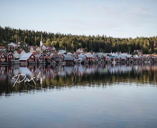 Turista på Ulvön och bo med barnen på hotell.