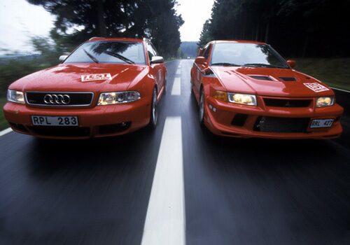 Audi RS4 Avant och Mitsubishi Lancer Evo VI
