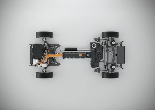 Här ser vi T5 Twin Engine-drivlinan så som den presenterades våren 2016.