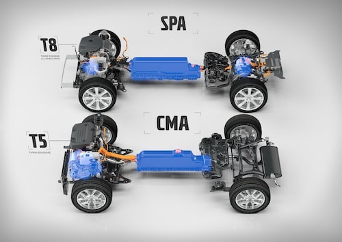 Här ser vi fyrhjulsdrivna T8 Twin Engine-drivlinan på den större SPA-plattformen samt framhjulsdrivna T5 Twin Engine på CMA-plattformen.