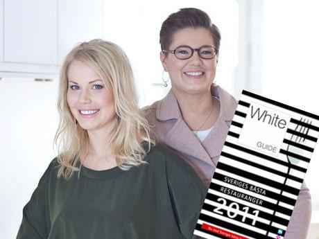 Hanna E Lindberg och Pia Bendel live-twittrar från White Guide-galan.