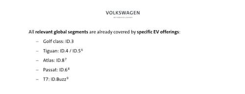 En skärmdump från sidan 10 i det dokument som VW-chefen Herbert Diess publicerade.