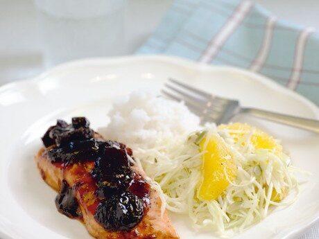 Teriyakilax med katrinplommon och citruskål