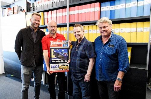 Richard Holtz, Auto Bild, på Teknikens Världs redaktion med Daniel Frodin, PeO Kjellström och Jonas Borglund.