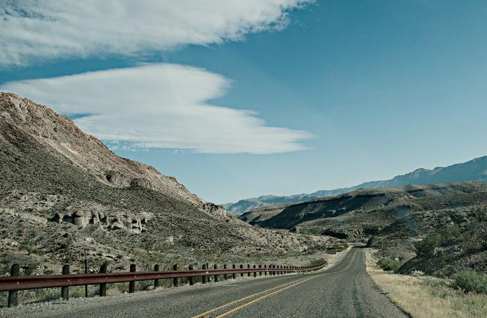 På väg genom Big bend national park i västra Texas.