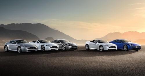 Aston Martin Vantage, alla fem modellversioner.