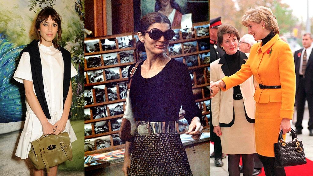 Alexa Chung, Jackie Kennedy och Diana Spencer med väskorna som bär deras namn