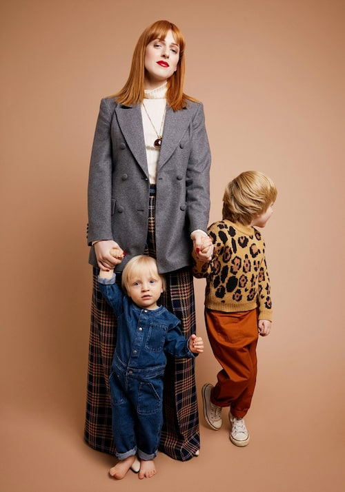 Cissi Wallin med sönerna Einar och Helmer.