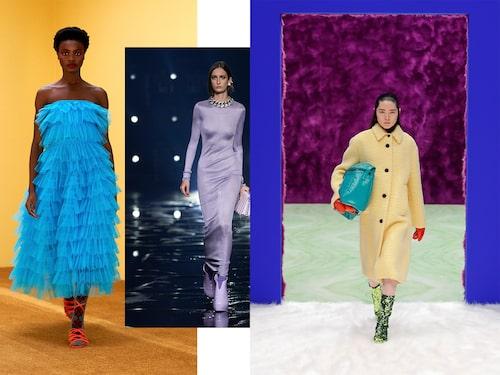 Exempel ur Molly Goddard, Givenchy och Pradas höstkollektioner.