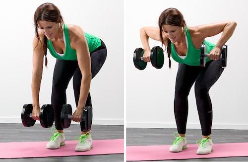 Stående rodd är en övning som tränar ryggen, visad av Olga Rönnberg.