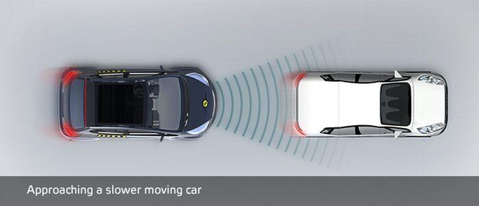 Närmar sig bil som kör långsammare.