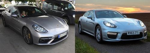 Jämförelse mellan nya och gamla Porsche Panamera. Ganska lika i fronten.